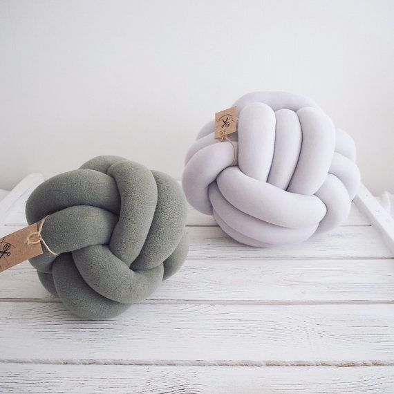 Knot pillow gray knotted pillow knot cushion by deloartamonovoj