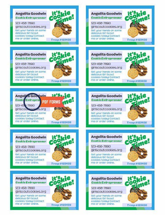 Girl Scout Cookie Seller Business Cards Pdf Template Etsy Girl Scout Cookie Sales Girl Scout Cookies Booth Girl Scout Cookies