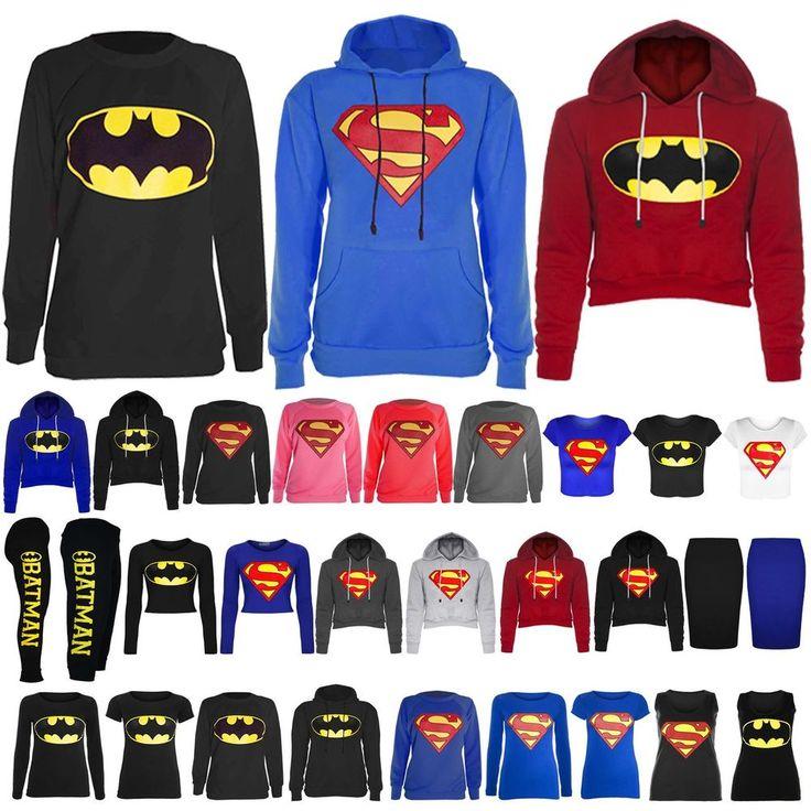 Womens Ladies Superman Batman Cap Long Sleeves T Shirt Sweatshirt Hoodies Tops