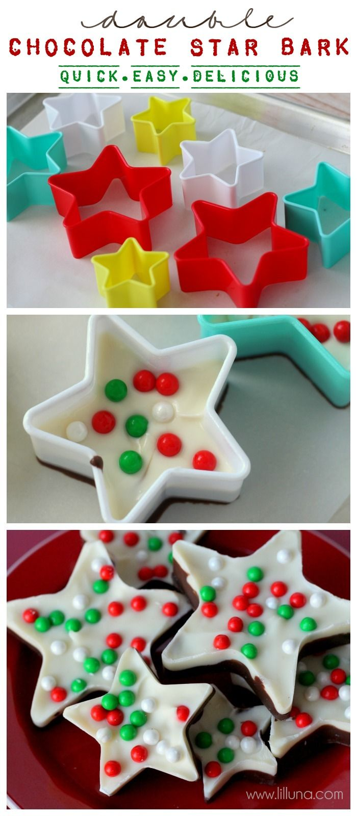 Double Chocolate Star Bark - fun and delicious! - fab idea for a Christmas present the children can make!