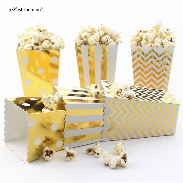 Iridescent Gold Favor Gift Paper Popcorn Box Gold Foil Popcorn Candy Box Popcorn Foil Bag Baby Shower Treat Goodie Bag Gold Foil