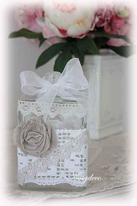 bouteille décoré de dentelle NATYDECO en vente sur http://www.natydecocorse.com