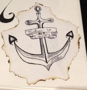 Rustic anchor drawing | Refuse to Sink |