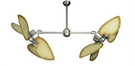 50 inch Twin Star III Double Ceiling Fan - Bombay Tan Blades