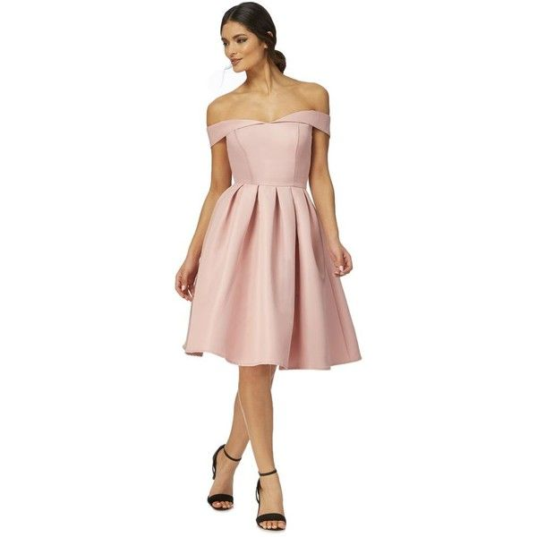 Chi Chi London Pink 'Dulce' pleated dress ($86) ❤ liked on Polyvore featuring dresses, holiday cocktail dresses, pink skater skirt, pink cocktail dress, holiday dresses and evening dresses