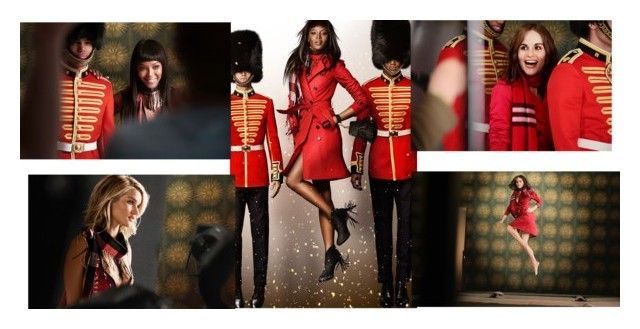 """Burberry 2015 Christmas AD"" by jeanine65 ❤ liked on Polyvore featuring Burberry, women's clothing, women, female, woman, misses and juniors"