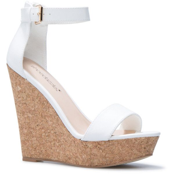 ShoeDazzle Wedge Daija Womens White ❤ liked on Polyvore featuring shoes, wedges, white, monk-strap shoes, strappy wedge shoes, cork wedge shoes, white wedge shoes and wedge shoes