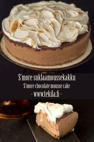 S'mores chocolate mousse cake with recipe www.tekila.fi #smores #chocolatecake