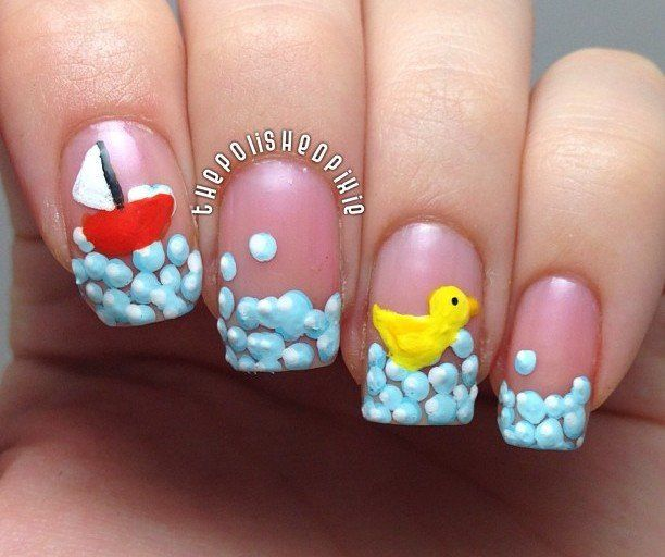 Nail Art, Rubber Duck, Bath Time #nail #nails #nailart