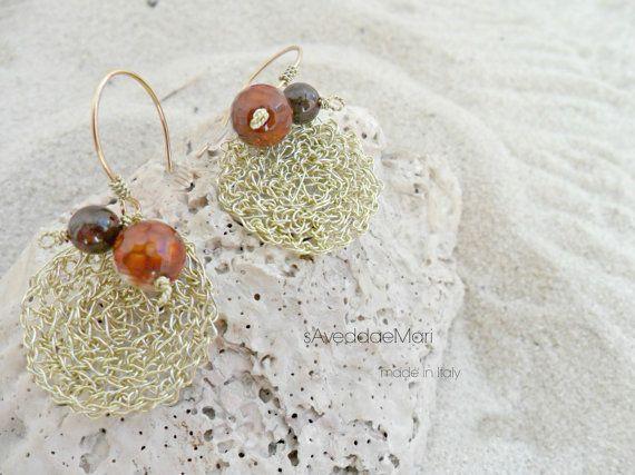 Orecchini wire crochet, gioielli in rame, gioielli italiani, made in Italy, Sardegna, gioielli artigianali, gioielli artigianali