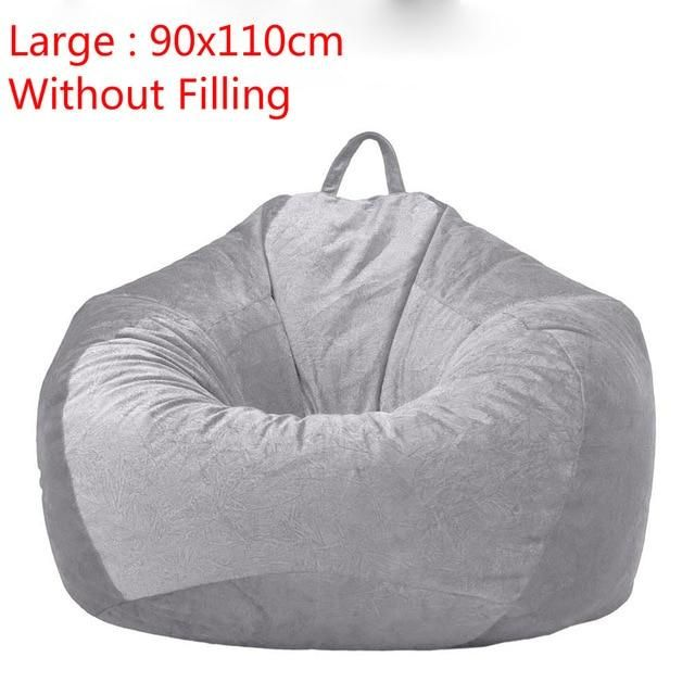 Gray Bean Bag Cover Velvet Sofa Chair Without Filling Lounger Seat Bean Bags Puff Couch Living Room Lazy Sofa Covers 90x110cm In 2020 Bean Bag Chair Covers Bean Bag Covers Bean