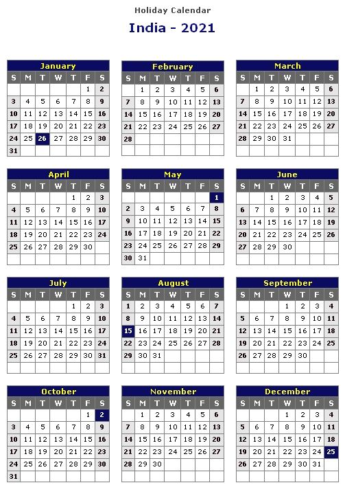 Pictures of Holiday Calendar 2021 India