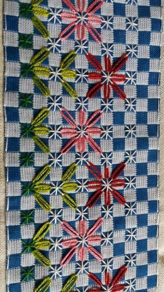 Bordado em tecido xadrez - Amostra com PAP do bordado (Detalhes sobre o bordado... Visitar)
