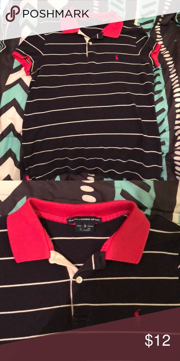 Girls polo collared shirt Pink and navy blue striped collared shirt Polo by Ralph Lauren Tops Button Down Shirts