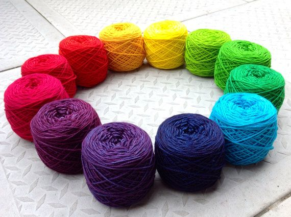 Worsted weight  12 colour Rainbow Palette by BlueberryPieStudio, $300.00