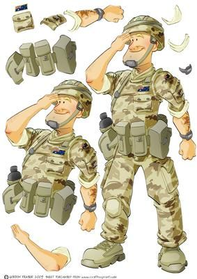 Australian Army Dude Decoupage Sheet on Craftsuprint designed by Gordon Fraser - Army Dude proudly salutes! Decoupage sheet featuring my Australian Army Dude. Loads of options to create your own cards for our brave boys! More versions of this Dude are available! - Now available for download!
