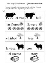Review vocabulary from The Story of Ferdinand with these Spanish-English flashcards.