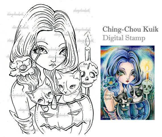 Blue Pumpkin - timbro digitale istantanea Scarica / Cat candela Fantasy gotico scheletro Art di Ching-Chou Kuik
