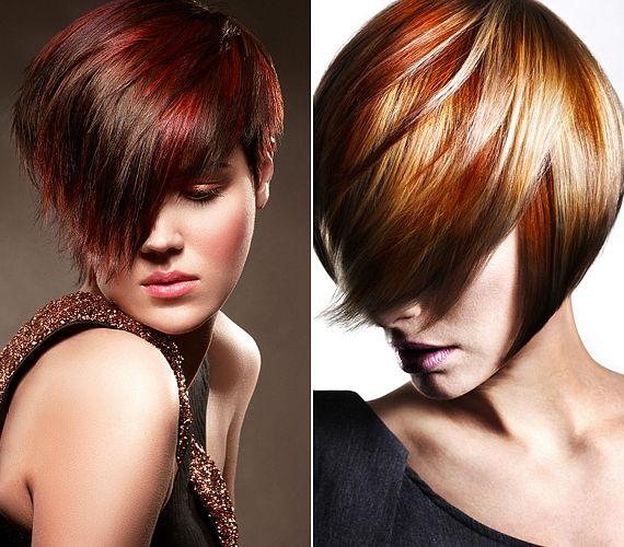 A vagányabbak egyszerre több tónust rakathatnak a hajukba: az ősz rozsdás, vöröses, narancsos avartónusai remekül passzolnak a modern bubifrizurákhoz.