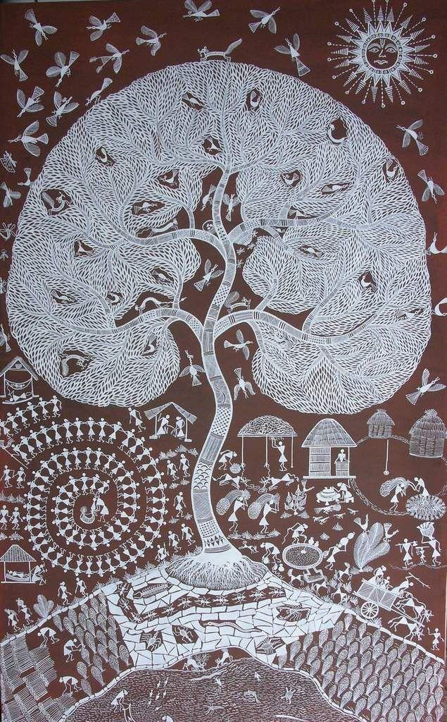L'arbre de vie des Warlis, avatar de la grande Mère Palaghata - Peinture aborigène d'Australie et d'ailleurs