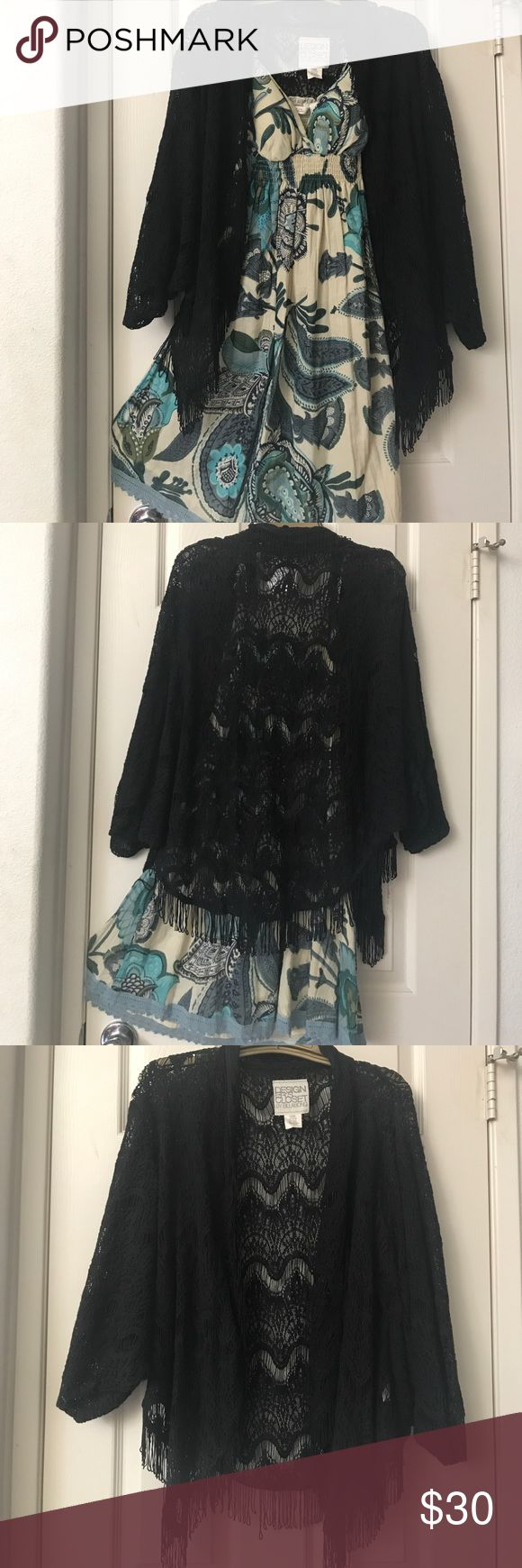 Black Boho Crochet Fringe Cardigan/Shawl Designer's Closet by Billabong Black crochet fringe Cardigan Shawl in great condition. Designer's Closet by Billabong Other