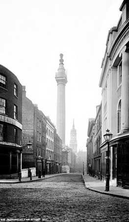 Monument, Fish Street Hill, City of London. c 1880. Fish Street Hill looking south.
