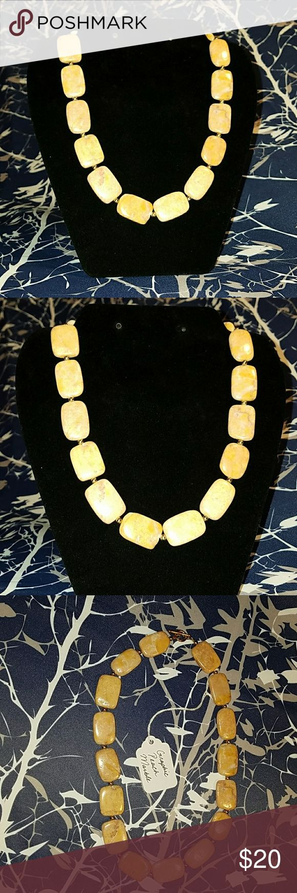 """Leanne"" Graphic Peach Marble Necklace Handmade Necklace. Leanne's stones are genuine graphic peach marble with gold colored beads. Stones are a light peach color with hints of maroon and goldenrod yellow. 19"" long. Great for fall! Jewelry Necklaces"