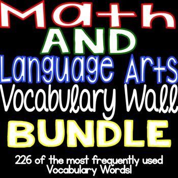 Language Arts AND Math Vocabulary Wall Cards - BUNDLE!
