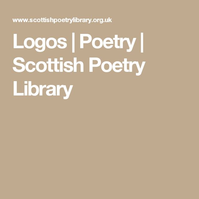 Logos   Poetry   Scottish Poetry Library