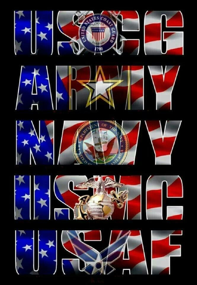 ♥  No matter the branch of service. We are all a team. U.S. Military Thank You!