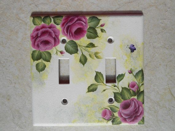 PINK ROSES Light Switch Plate - floral switchplate on Etsy, $12.99