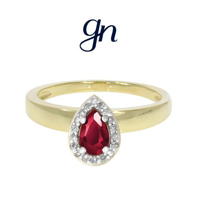 Anillo de Compromiso. Oro 14k con Diamante y Rubí. Uno de nuestros modelos más solicitados. ¡Encuéntralo sólo en GN!