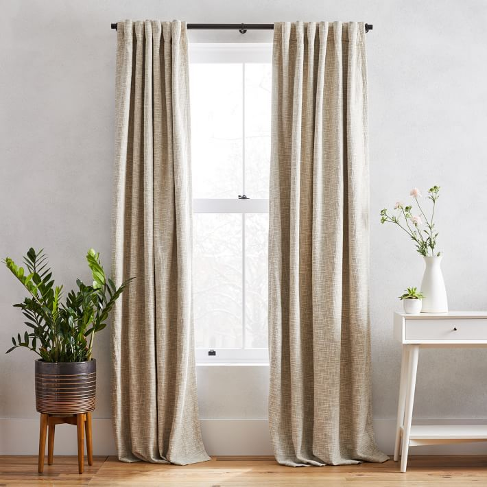 Cotton Textured Weave Curtain Blackout Lining Ivory West Elm