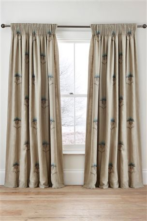 Buy Embroidered Thistle Pencil Pleat Curtains from the Next UK online shop