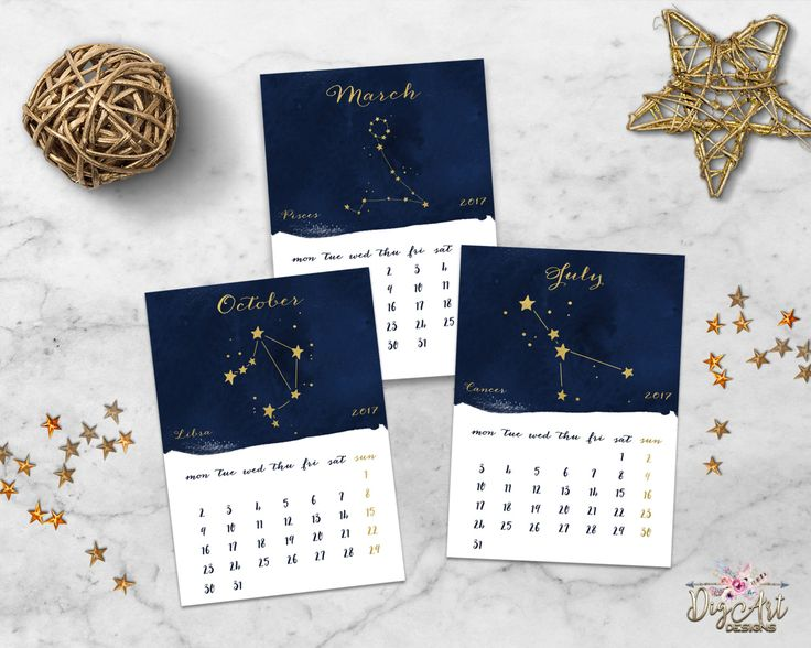 2017 Zodiac Constellation Calendar Printable Watercolor Monthly 5x7 Desk Calendar Navy Gold Astrology Horoscope Calendar Digital Download by DigartDesigns on Etsy