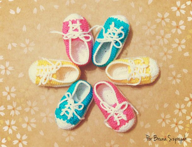 Imagem 10: All Star, De Bebe, Crochet Shoes, Shoes Of, De Bebê, Crochet Baby, Quaver, Baby Shoes