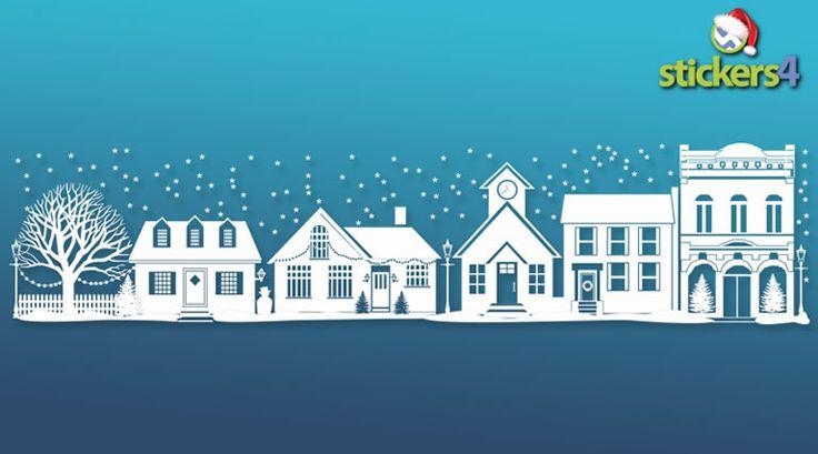 Christmas Street Scene Window Sticker | Christmas Scenes and Borders Shop Window Stickers