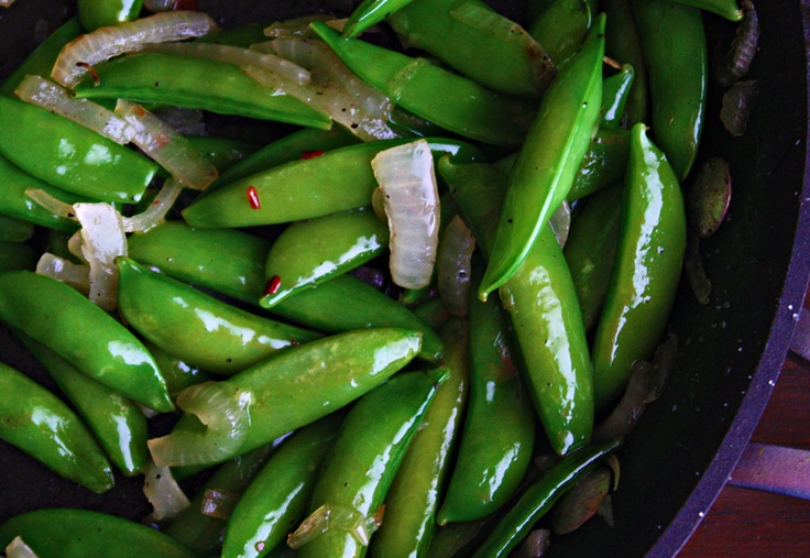 Crisp, sweet snow peas and caramelized onions are a snap to make and compliment just about any main dish.