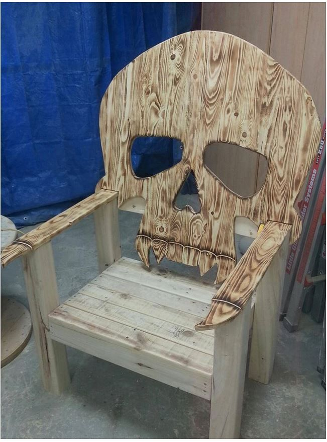 Awesome the skull chair wooden lawn for back