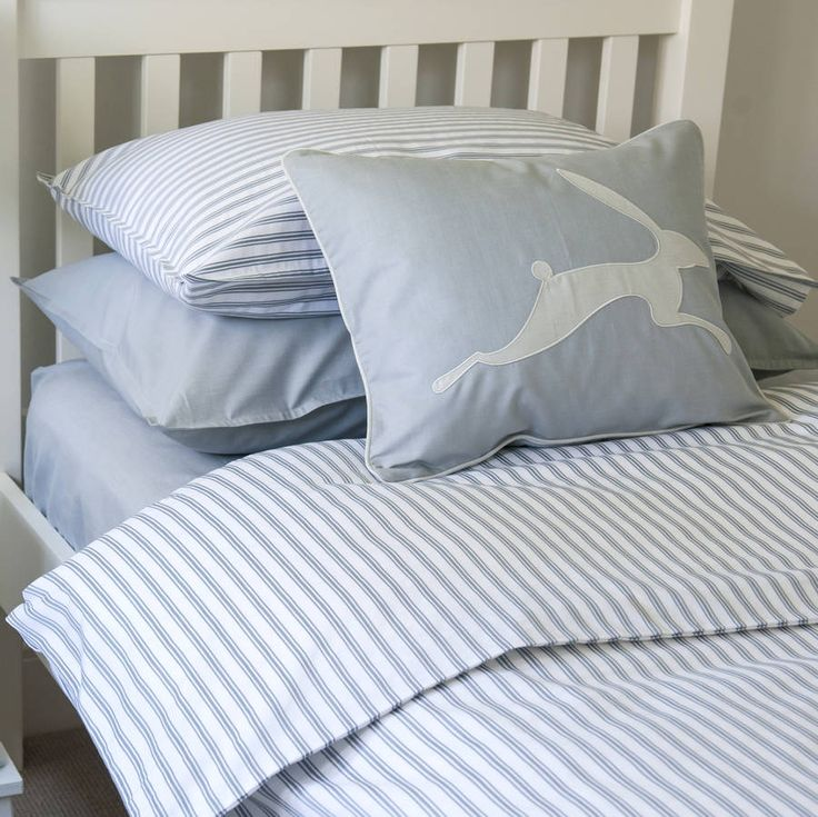 Ticking Stripe Blue Grey Toddler Cot Bed Duvet Set