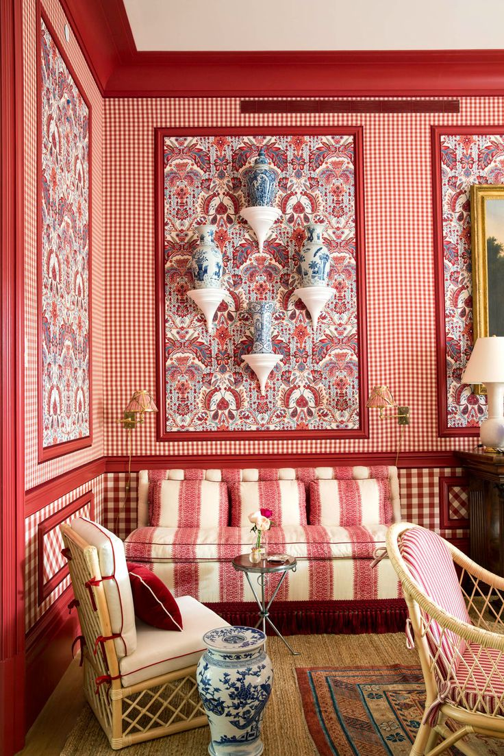 Red room designed by Mark D  Sikes for Kips Bay Show House1276 best red interior design   room decor images on Pinterest  . Red Room Decor. Home Design Ideas