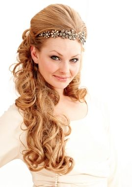 A long blonde wavy curly coloured hair extensions wedding bridal hairstyle by Balmain Paris