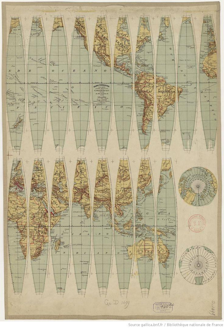 Globe terrestre tascabile... 1/ 70 000 000. A. Deniede incisore e disegnatore geografico