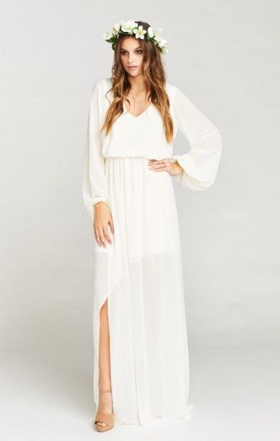 Jocelyn Maxi Dress ~ Wedding Cake Chiffon  What's great about Wedding Cake Chiffon is that you can eat as much wedding cake as you want and not have to worry about some random frosting accidentally staining your dress!  affiliate link