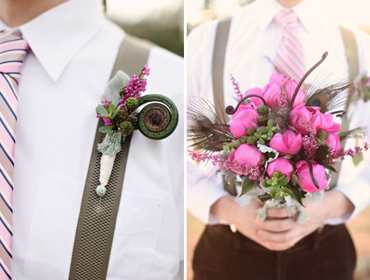 I think these are fiddlehead ferns and they would look nice with the billy balls and some soft, fluffy purple flowers. #wedding #bouquet