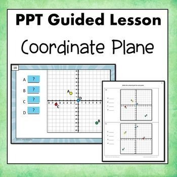 Coordinate Plane Guided Lesson. (Four quadrants) Interactive and self checking.  Skills Covered --Potting points --Writing an ordered pair --Naming each quadrant Simone's Math Resources