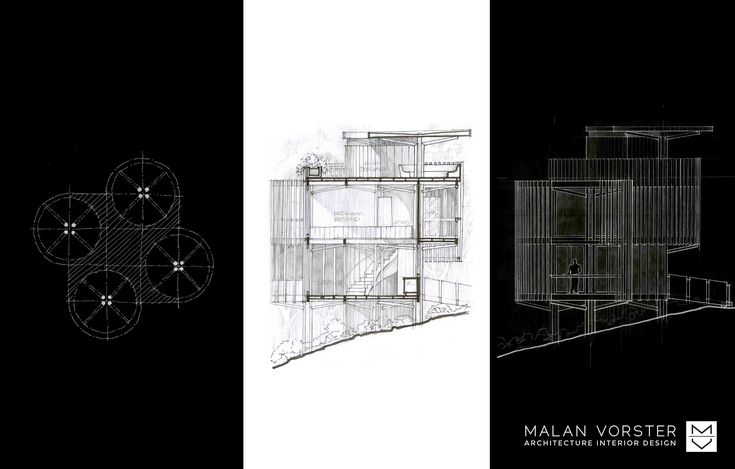 PARTI AND STUDIES. Malan Vorster Architecture Interior Design will be constructing a compact house on tree rich land in the picturesque Constantia area of Cape Town.  The structural elements of the house make habitable space akin to a clearing surrounded by trees.