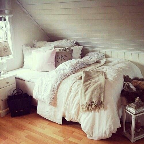 - put bed like this - I loved slanted ceilings so much! It gives the room such character                                                                                                                                                                                 More
