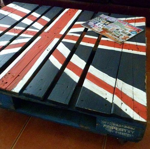 Table basse originale drapeau angleterre