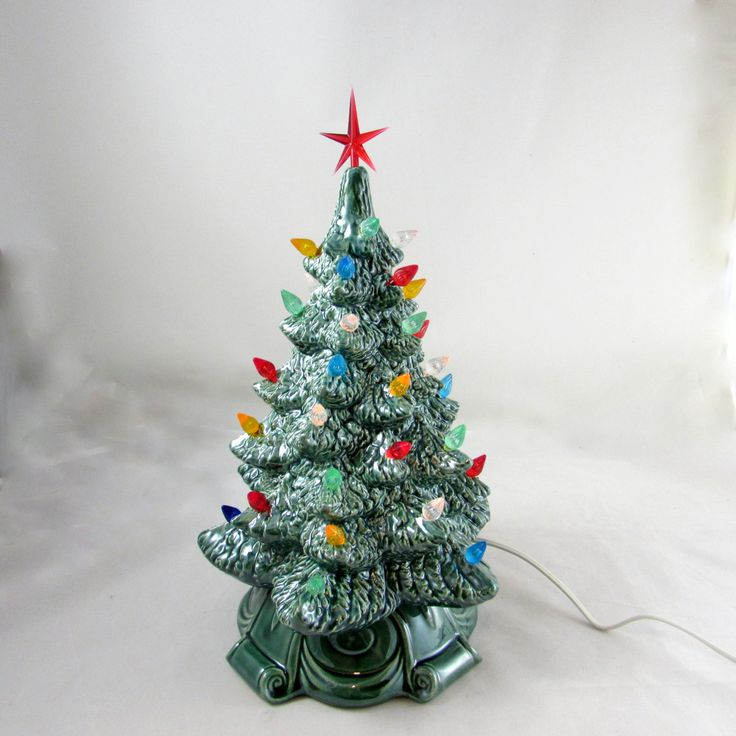 Medium Vintage Style Glazed Ceramic Christmas Tree -13 inches with base, hand made, painted, pine tree by aarceramics on Etsy